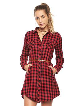 Vestido Rojo a Cuadros con Cinturón