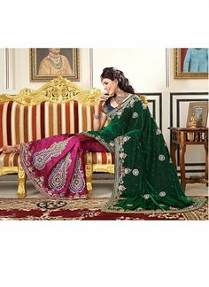 Green And Pink Resham Maded Velvet Embroidered Saree