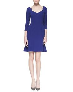 Crepe Long-Sleeve V-Neck Dress by ZAC Zac Posen at Neiman Marcus.