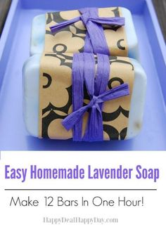 Easy Homemade Lavender Soap – Make 12 Bars in One Hour! This makes a wonderful gift! This is the perfect melt and pour recipe to start with when you first start creating your own soap bars! http://happydealhappyday.com