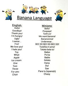 >>>Cheap Sale OFF! >>>Visit>> Minion Despicable me inspired idea for kids birthday Party decoration Banana Language PRINTABLE Inst Funny Minion Memes, Funny School Jokes, Funny Jokes To Tell, Really Funny Memes, Haha Funny, Crazy Funny Memes, Funny Texts, Funny Shit, Minions Quotes