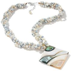 "Sonoma Studios Cultured Freshwater Pearl and Shell Pendant with 18"" Necklace at HSN.com."