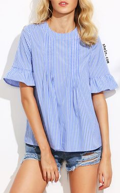 Blue Vertical Striped Ruffle Sleeve Button Back Blouse Too trendy maybe. I like the stripes. Spring Summer Fashion, Spring Outfits, Girl Fashion, Fashion Outfits, Fashion Design, Casual Outfits, Cute Outfits, Fashion Project, Refashion
