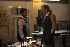 Clive Owen as Dr. John W. Thackery and Andre Holland, left, as Dr. Algernon Edwards in the Peabody Award-winning HBO medical drama The Knick.