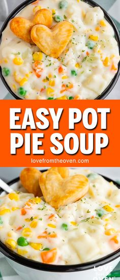 This easy Pot Pie Soup is amazing! Quick and easy to make, perfect comfort food dinner, great for a cold night. Make with veggies and with or without chicken. #potpiesoup #potpie #veggies #vegetables #soup #recipes #dinner #comfortfood #lftorecipes