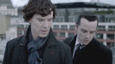 Benedict Cumberbatch as Sherlock and Andrew Scott as Moriarty