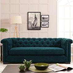 Charlton Home Hoopes Sofa Upholstery: Peacock Blue Velvet Sofa Bed Design, Living Room Sofa Design, Home Room Design, Sofa Furniture, Living Room Furniture, Living Room Decor, Living Rooms, Sofa Upholstery, Fabric Sofa