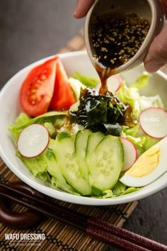 Wafu Dressing - (Japanese Salad Dressing) Simple and delicious home made Wafu Dressing, soy sauce base with rice vinegar, roasted sesame seeds, and grated onion to make it extra flavorful. Easy Japanese Recipes, Japanese Dishes, Japanese Food, Asian Recipes, Vietnamese Recipes, Chinese Recipes, Mexican Recipes, Japanese Style, Vegetarian Recipes