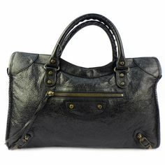 #Balenciaga City Good Condition Black Color Lambskin With Rustic Gold Hardware Ref.no GRKR-2