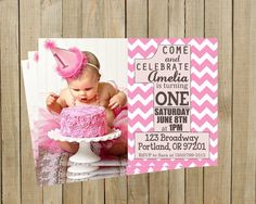 Trendy Pink Chevron First Birthday Invitation, Girl, Printable, Custom Digital File