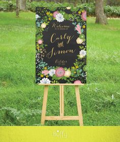 $20 on ETSY | A wedding welcome sign is the perfect introduction to your special day. A combination of Calligraphy and modern type, paired with a mix of flowers: Dahlias, Peonies, Billy buttons, Succulents, and pink Andromeda foliage.