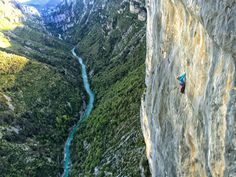 Emily Harrington climbs a classic big wall route in the Gorges du Verdon in the south of France. Emily Harrington, Whitewater Rafting, South Of France, Rock Climbing, Photo Credit, Sport, Big, Classic, Wall