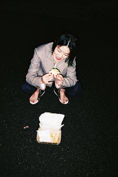 Tank Magazine issue 64, Autumn 2015, Might real OUT NOW! Horror eats the light and digests it into darkness: at dawn in the wilds of Yogi Park, Tokyo. Photography by #RenHang, styling by #DemiDemu - #MihoShida wears a jacket by #PaulSmith, trousers by #RealityStudio, her own shoes and the stylist's own shirt.