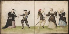 Miniature of 'The Spanish Dance'; from Códice de trajes, Germany, 1547, BNE MS Res 285, ff. 2v-3r.