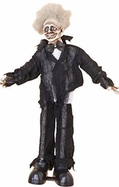 "Animated Halloween Props 30"" Animated Standing Zombie Halloween Decoration New…"