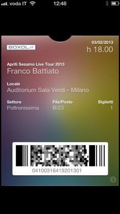 Boxol.it and Passdock for event tickets: Battiato Apriti Sesamo Live Tour for passbook