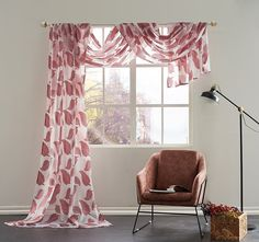 KEQIAOSUOCAI Semi-Sheer Leaves Embroidery Window Scarf-Elegant Home Decor Window Treatments  ,Red