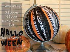 DIY Halloween : DIY Make a ribbon covered globe for Halloween.