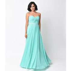 Mint Chiffon Strapless Sweetheart Corset Long Gown ($96) ❤ liked on Polyvore featuring dresses, gowns, blue, plus size long dresses, plus size evening dresses, long chiffon gown, blue long dress and plus size gowns