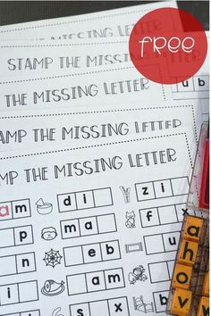 STAMP THE MISSING LETTER Students can stamp the missing letter with these free CVC word worksheets! Stamp the beginning, middle, or ending sound on each of five FREE printable worksheets! Great way to build phonics and spelling skills! #CVC words #kindergarten Kindergarten Lesson Plans, Kindergarten Centers, Literacy Centers, Kindergarten Phonics, Kindergarten Spelling Words, Daily 5 Kindergarten, Kindergarten Reading Activities, Writing Centers, Kindergarten Language Arts