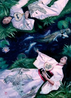 the milky way in Japanese mythology was a river dividing two lovers. Once every hundred years they would cross it and meet.
