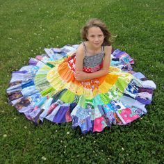 Rainbow dress patchwork twirly twirler bright eco children sundress custom upcycled size 4 - 10 made to measure CUSTOM ORDER. $85.00, via Etsy.