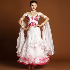 d33006e5439d Aliexpress.com : Buy Women Professional Modern Dance Costume Standard Ballroom  Dance Competition Clothing White Extra Plus Size Ballroom Dress MY729 from  ...