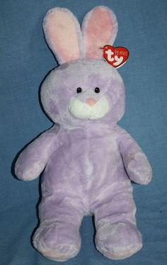 2d0568bd348 Beanie Babies · Ty Pluffies Springy Purple Bunny Rabbit Plush Stuffed soft  toy hang Tag 2011 11