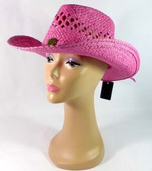 Pink 100% Straw Cowboy or Cowgirl Hat