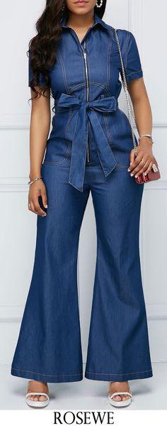 Zipper Up Belted Denim Boot Cut Jumpsuit.#Rosewe#jumpsuit
