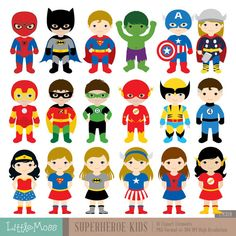 18 Superheroes Characters Digital Clipart Superhero by LittleMoss                                                                                                                                                                                 Mais