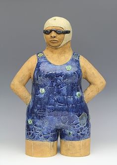 Clay ceramic sculpture swimmer by Sara Swink