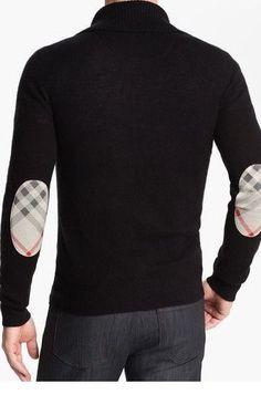 Diva-Dealz -  BURBERRY Mens Dress Sweater Cashmere Half Zip with Check elbow XXL