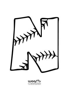 Printable Baseball Alphabet Letters Baseball Alphabet Letter N – Craft Jr. Baseball Letters, Baseball Crafts, Baseball Kids, Baseball Bat Drawing, Alphabet Letters To Print, Abc Font, Basketball Decorations, Baseball Birthday, Softball Party