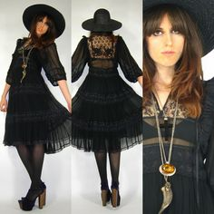 Vintage GOTH 70's MEXICAN Bohemian FESTIVAL Blk SHEER Prairie LACE Hippie CHIC Dress