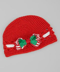 Red & Green Bow Crocheted Beanie #crochet #inspiration