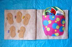Beach Bag & Flip-Flop Matching Quiet Book Page