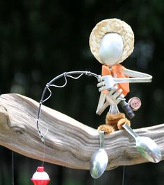 Country Boy Fishing Flatware Wind Chime by NevaStarr on Etsy