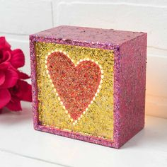 Show someone you love them with a Glittery Heart Box for Valentine's Day. Made with FolkArt Glitterific Valentines Day Presents, Valentine Box, Valentine Day Crafts, Presents For Him, Gifts For Him, Great Gifts, Love Messages, Holidays And Events, Decorative Boxes