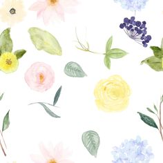 Watercolor Flowers fabric by peacefuldreams on Spoonflower - custom fabric