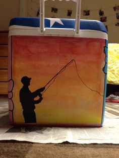 Fishing silhouette mountain weekend cooler