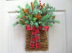 Rustic Christmas Wreath, Country Wreath for Christmas, Holiday Door Wreath by AWorkofHeartSA, $65.00