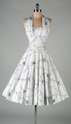 vintage 1950s dress . white butterfly print by millstreetvintage by Nett15