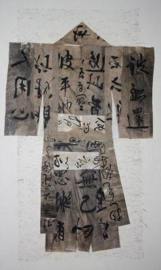 Maria Tupay Duque  paper kimono 2012 collage ink broux de noix hemp paper 165 x 80 cm
