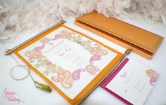 Gorgeous Indian Wedding Invitation Scrolls - Ganesh and Paisley by SDezigns