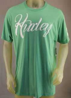 Hurley Premium Fit green T-shirt with white logo on front and distressed logo on left arm