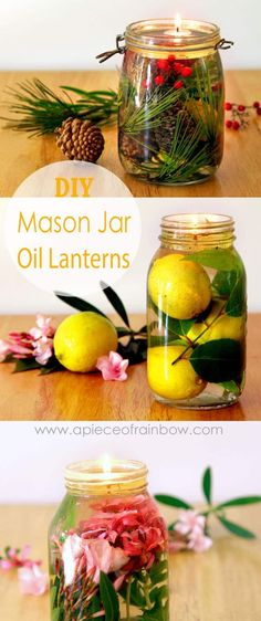 Make festive and gorgeous oil lanterns easily from mason jars and glass bottles. Safer than candles, it takes only 2 minutes to make using vegetable oils and water! - A Piece Of Rainbow Blog