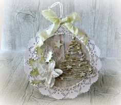 Christmas card  Christmas bauble card  by CarmenHandCrafts on Etsy