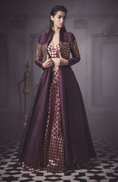 aubergine jacket lehenga , open jacket lehenga , bustier skirt , purple silk outfit , purple and gold outfit