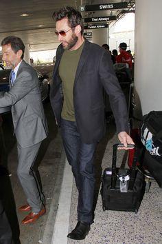 Hugh Jackman - Hugh Jackman arrives with his wife Deborra-Lee Furness at the LAX airport